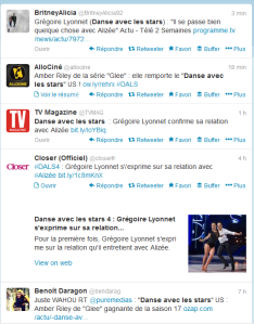 tweets postés à propos de Dans avec les stars